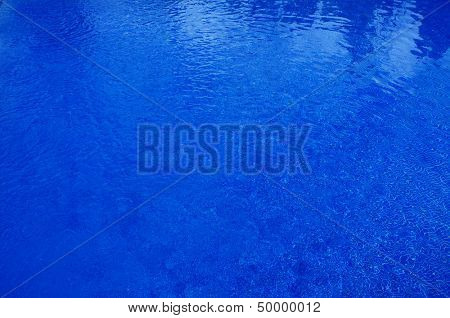 close-up of a swimming pool with blue mosaic background