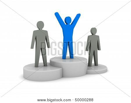 Winners podium. Champion, leader.  Concept 3D illustration.