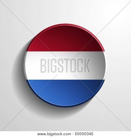Netherlands 3D Round Button