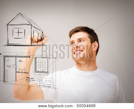 real estate, technology and accomodation concept - man drawing house and blueprint on virtual screen