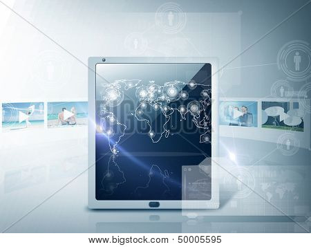 technology and internet concept - illustration of tablet pc with map and footage