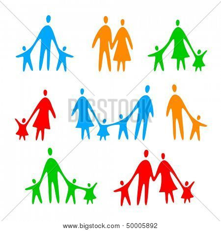 family icons - vector template collection