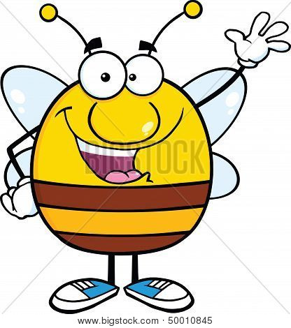 Happy Pudgy Bee Cartoon Character Waving For Greeting