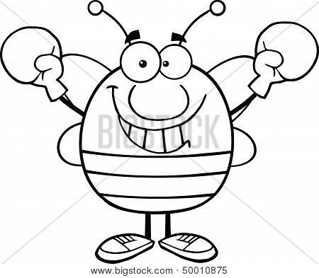 Black And White Pudgy Bee Cartoon Character Wearing Boxing Gloves