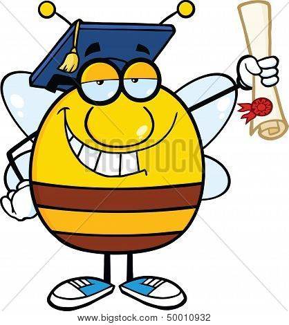 Smiling Pudgy Bee Cartoon Character Graduate Holding Up A Diploma