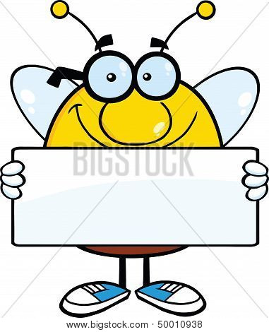 Smiling Pudgy Bee Cartoon Character Holding A Banner