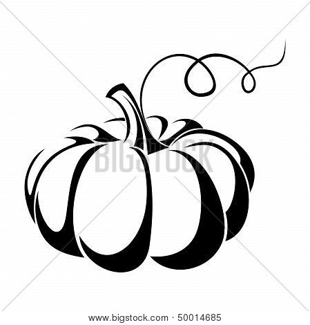 Pumpkin. Vector black silhouette.