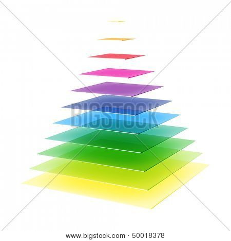 Layered rainbow colored pyramid. Vector.