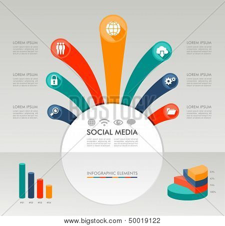 Social Media Infographic Template Graphic Elements Illustration.