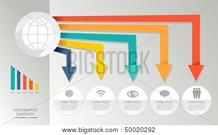 Colorful Infographic Diagram Global Media Icons Illustration.