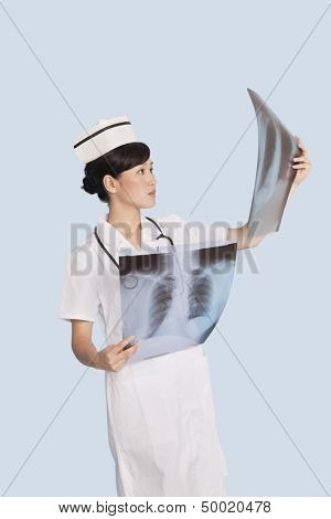 Female doctor analyzing x-ray reports over light blue background