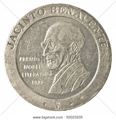 200 Spanish Pesetas Coin Isolated On White Background Depicting Jacitno Benavente Nobel Prize For Li