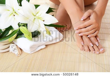 Woman hand , feet with manicure and Lily