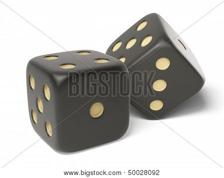 Black isolated dices.
