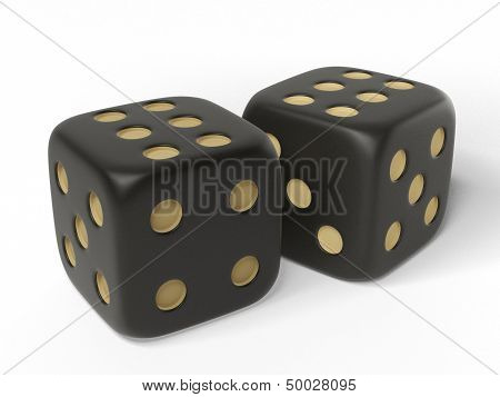 Two black isolated dices.