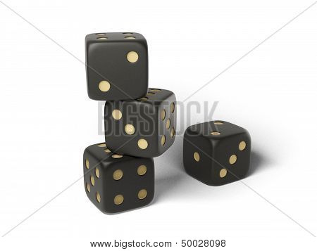 Four black isolated dices.