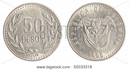 50 Colombian Pesos Coin