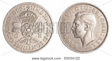 Two Old British Shillings Coin Isolated On White Background