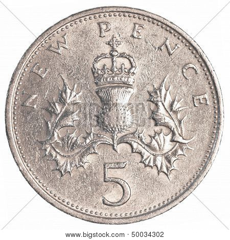 5 british pennies coin