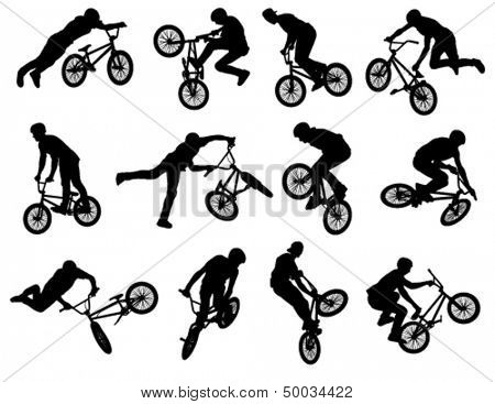 12 high quality bmx cyclist silhouettes - vector