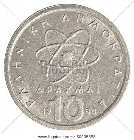 10 Old Greek Drachmas Coin
