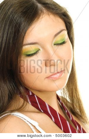 Pretty Girl With Colorful Makeup
