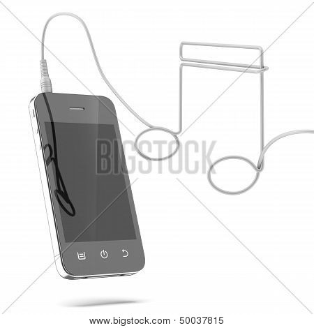 Phone with cable in the form of music note
