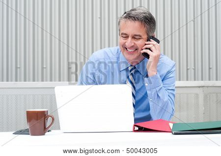 Portrait Of A Happy Businessman On Phone