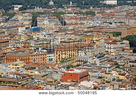 Many Crowded Houses Seen From The Top Of The Great Metropolis Of Rome