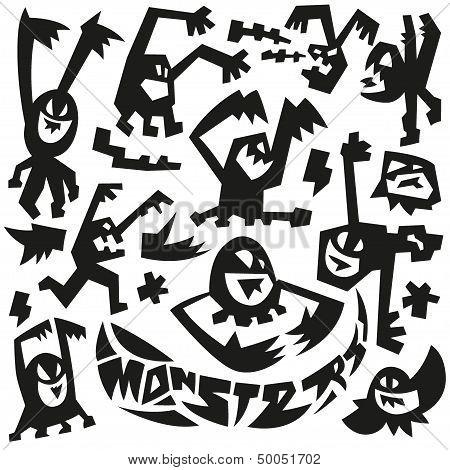 evil monsters - doodles