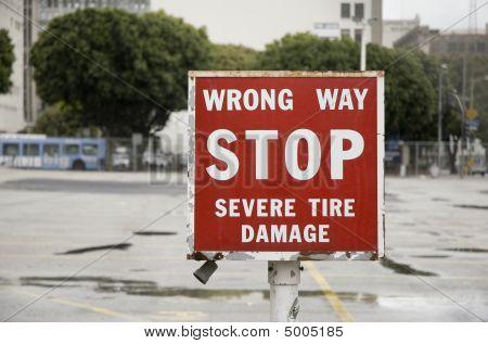 Wrong Way Sign, Parking Lot