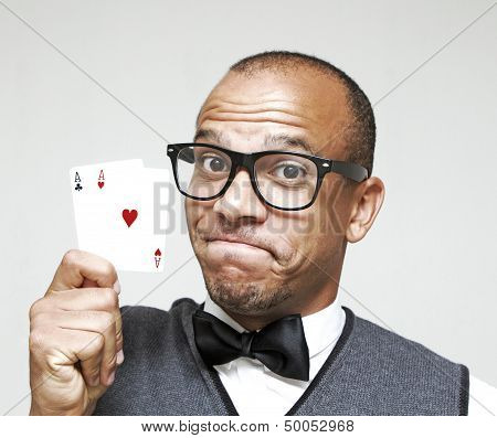 Geek with a Strong Hand in Poker