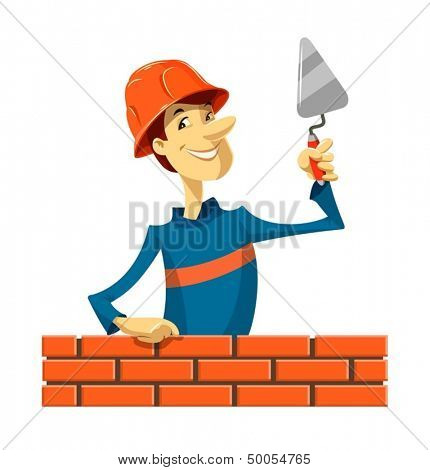 builder with trowel vector illustration isolated on white background EPS10. Transparent objects and opacity masks used for shadows and lights drawing