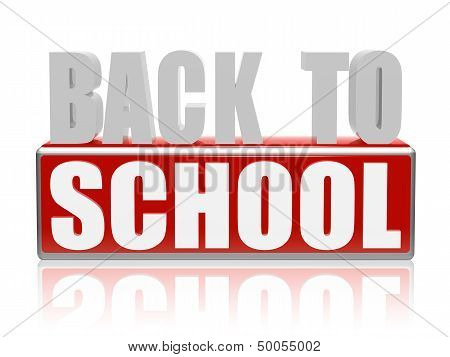 Back To School In Red White Banner - Letters And Block