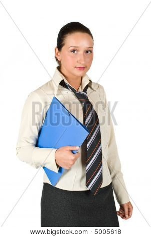 Student Female Holding A Folder