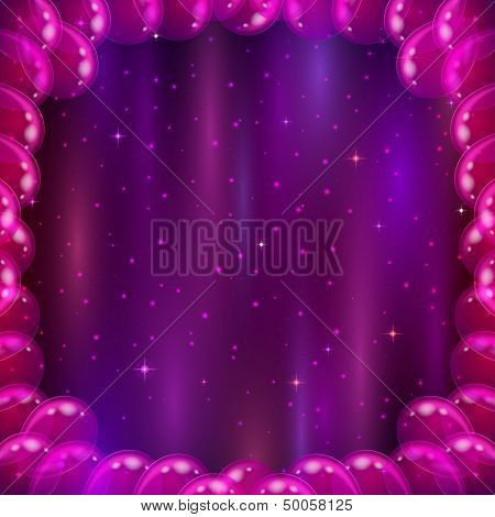 Space background with balloons