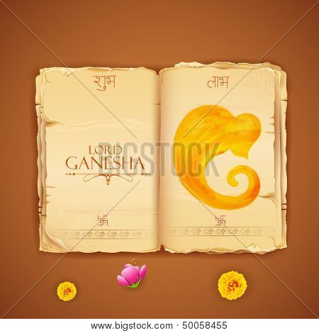 illustration of Lord Ganesha in antique book