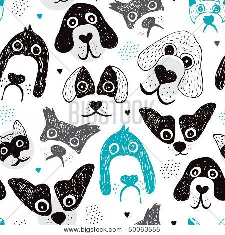 Seamless dog illustration set decorative background pattern in vector