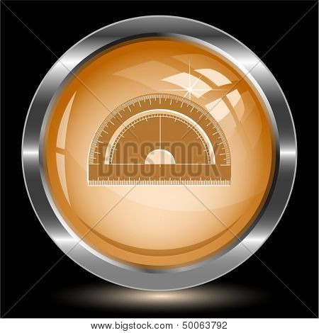 Protractor. Internet button. Vector illustration.