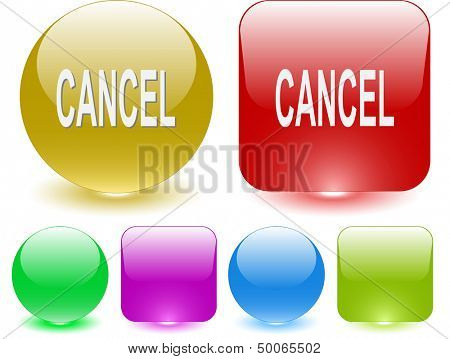 Cancel. Interface element. Raster illustration.