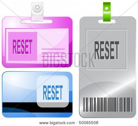 Reset. Id cards. Raster illustration.
