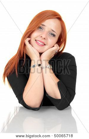 Smiling young business woman on white background
