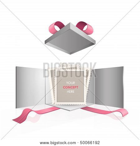 Empty Stamp Inside Gift Box. Vector Design.