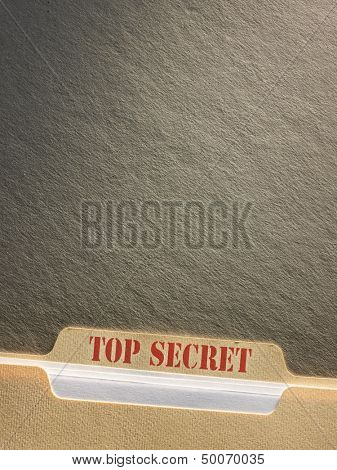 Top secret file folder on background