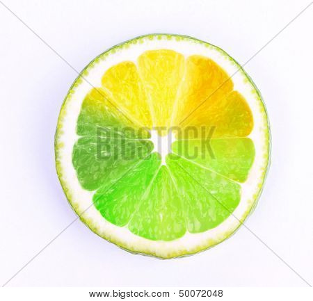 Multicolored piece of lemon isolated on white