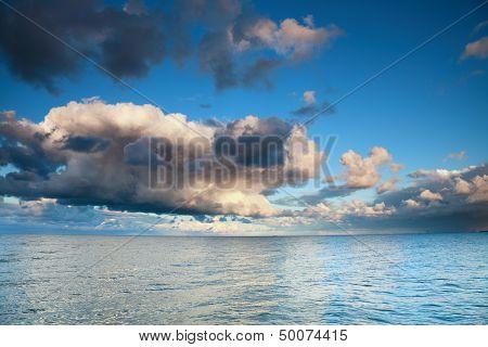 Horizon sea sky storm tempest sky clouded
