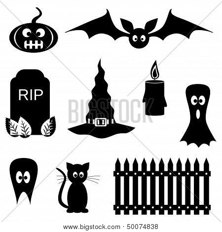 Black And White Halloween Symbols