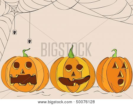 Scary pumpkins on spider web background, can be use as flyer, banner or poster.