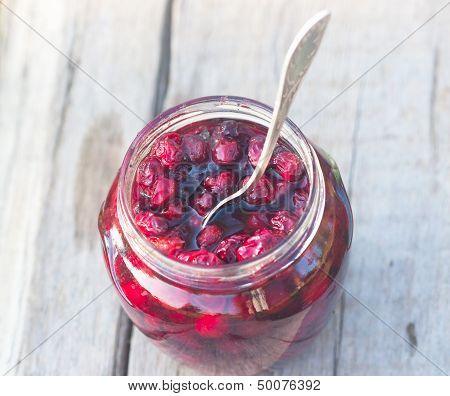 Sweet Preserve Of Red Berry And Spoon