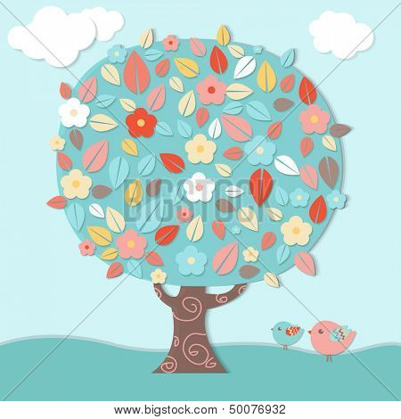 Fantastic Tree And Birds, Vector Illustration